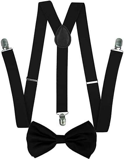 d087ee50306c Amazon.com: CD Gold Suspender with Matching Metalic, Champagne, Sequined  Bowtie Set (Black): Clothing
