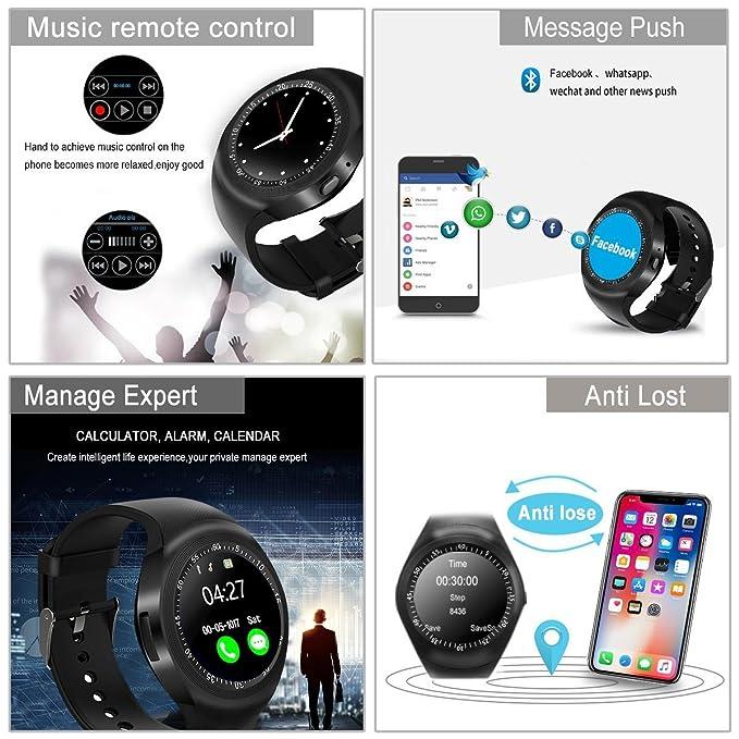 Smartwatch, Impermeable Reloj inteligente Redondo con Sim Tarjeta Camara Whatsapp, Bluetooth Tactil Telefono Smart Watch Sport Fitness Tracker Smartwatches ...