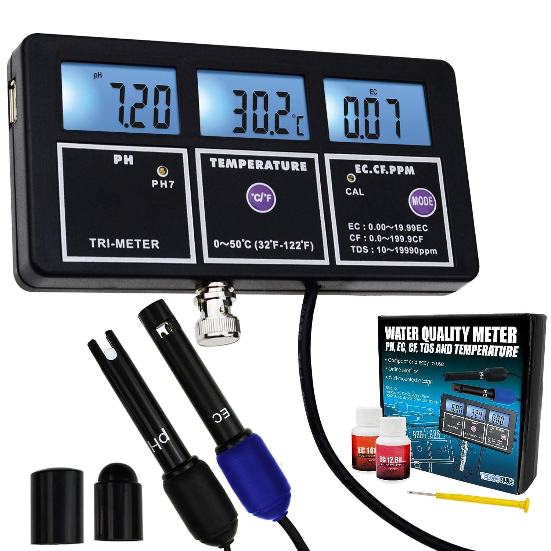 5-en-1 PH EC CF TDS Temperatura Calidad Del Agua Recargable, Multiparametros Medidor De Prueba Montura De Fondo Contraluz Monitor Continuo Para Acuarios Hidropónicos Piscina En Piscina