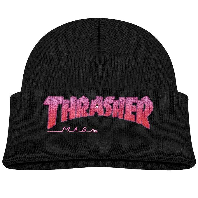 Amazon.com  Reneealsip Thrasher-Magazine Kids Elastic Rib Knit Beanie Hats   Clothing 7f74a323caf