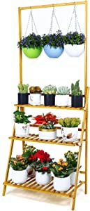 FOLDIFY Bamboo 3-Tier Adjusted Hanging Plant Stand Indoor Outdoor Multiple Plant Pot Flowers Pot Holder Shelf Folding Storage Rack Plants Shelf for Patio Garden, Living Room, Balcony and Bedroom.