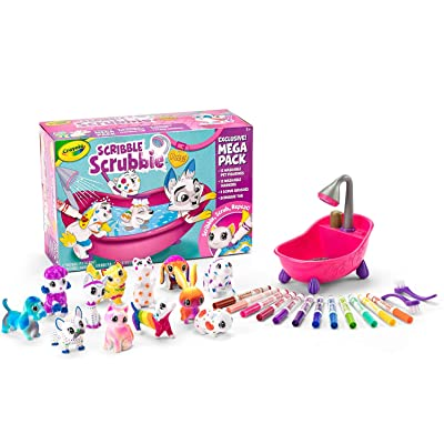 Crayola Scribble Scrubbie Pets Mega Pack Animal Toy Set Age 3+, Mega Set: Toys & Games