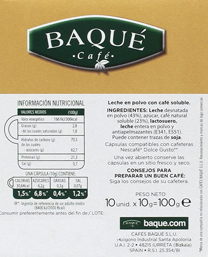 Cafés Baqué, Cápsulas de café (Con leche, compatible con Dolce ...