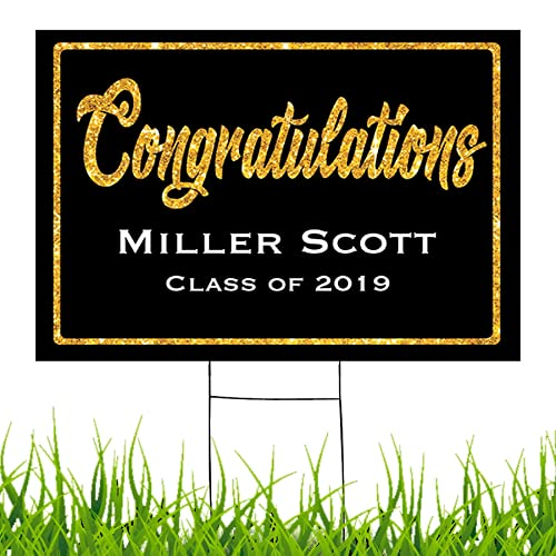 Congratulations Class Of 2019 Graduate Personalized Yard Sign With Metal Stake Custom Graduation Party Personalized Lawn Sign