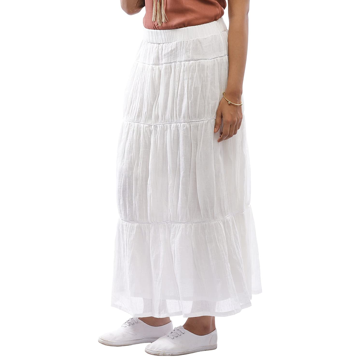0389516dd2 BollyWoo White Flared Skirt White Cotton Skirt (BWFEV-005)  Amazon.in   Clothing   Accessories