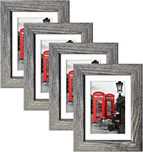 Edenseelake 4x6 Picture Frame Set of 4, Rustic Photo Frames 4 x 6 for Tabletop or Wall Decoration, Grey