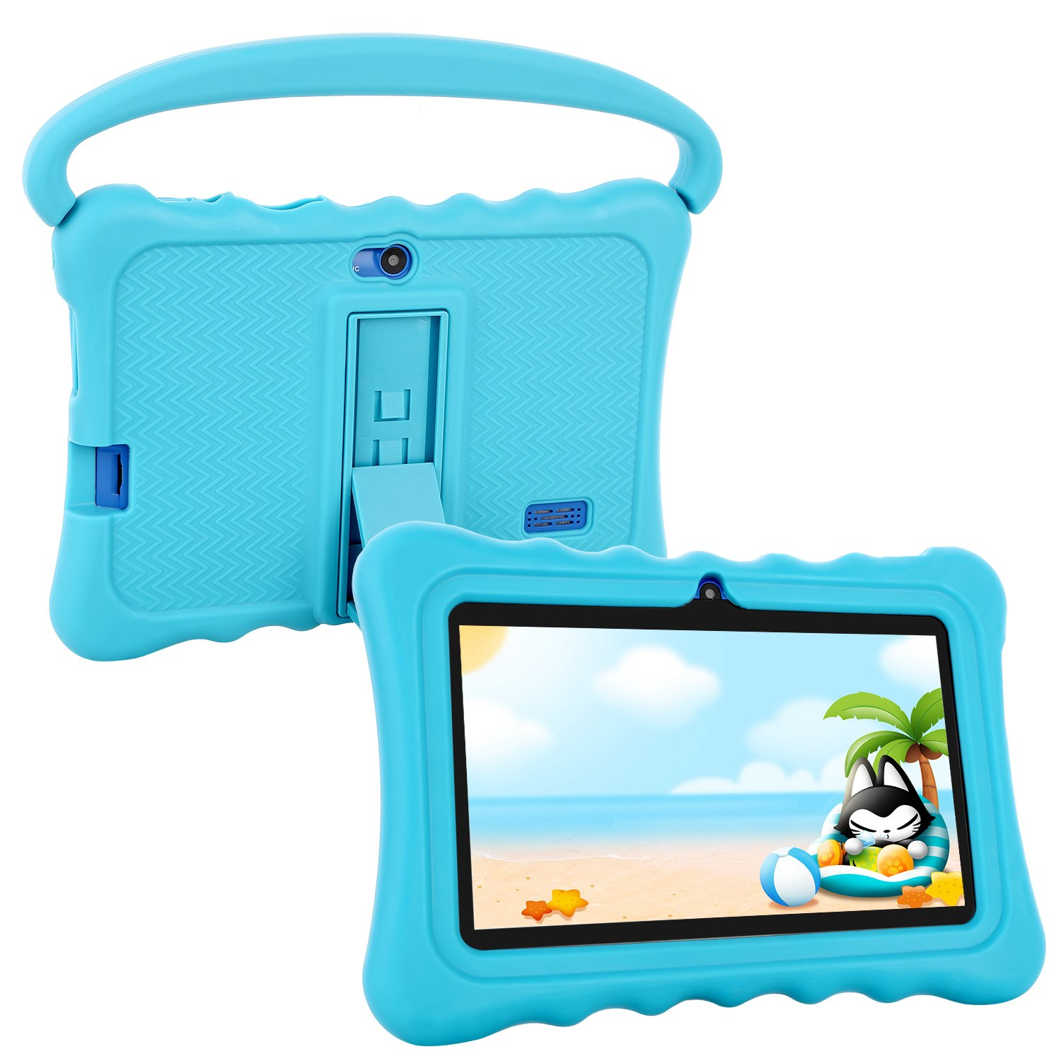 Kids Tablet,Auto Beyond 7 inch Tablet for Kids Google Android 6.0 with Handle and Stand Silicone Case,IPS Display Screen,Playstore,8GB ROM,1GB RAM,Wi-Fi,Bluetooth (Blue) by Auto Beyond
