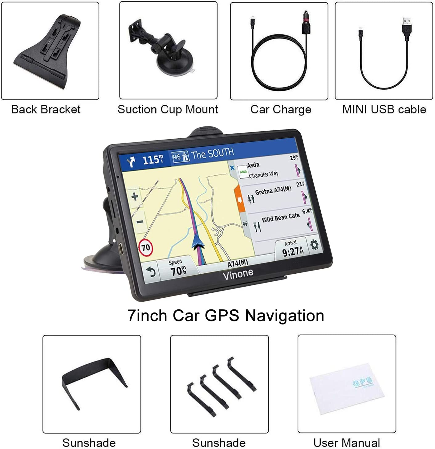 Pre-Installed North America Lifetime map Free Update/… GPS Navigation for Car 2020 Map 7 inch Touch Screen Car GPS 256-8GB Voice Turn Direction Guidance Support Speed and Red Light Warning