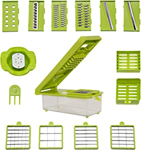 10 Blades Vegetable Chopper, Onion Chopper with Container, Food Chopper, green Slicer, Dicer, Shred Cutter,Can be Used for Potato Diced, Make a Fruit Salad, Home Cooking, Outdoor Picnic