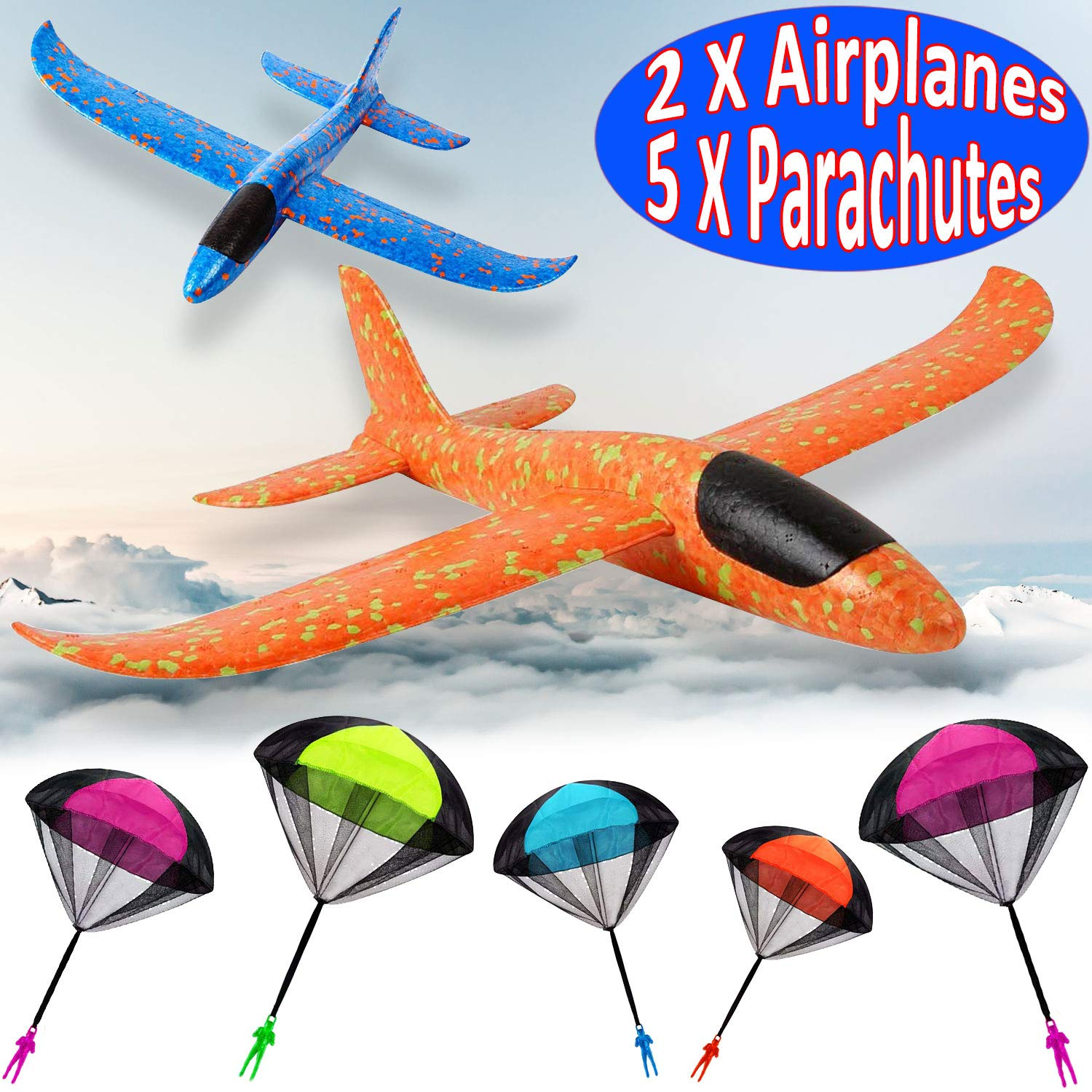 7 Pack Toy Airplane Glider for Kids, 2P 13.5'' Inch Throwing Foam Plane Kit Aircraft Jet+5P Toy Parachute Tangle Free Throwing, Outdoor Sports Flying Toys for Boys Girls Toddlers Teens Birthday Gift by iGeeKid (Image #1)