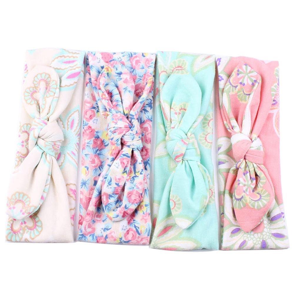 4 Pcs Baby Girls Elastic Turban Headbands Head Wrap Rabbit Ear Hair Band niceeshop