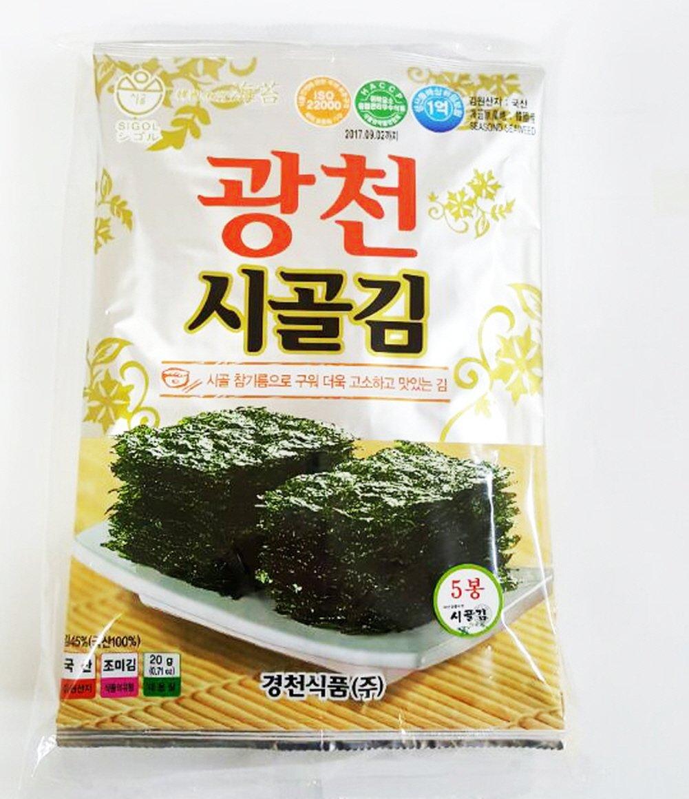 [Kyungcheon Food] SiGol Seaweed (Jeunjang) Premium Natural Roasted Seaweed Snack 20g 0.70oz(5sheet)-(Pack of 10)