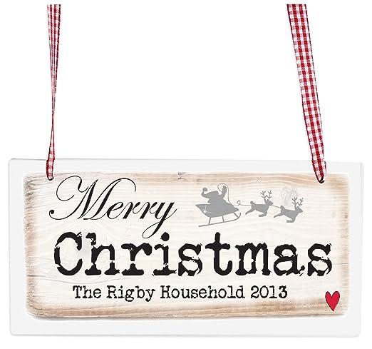 Personalizado feliz Navidad cartel de madera: Amazon.es: Hogar