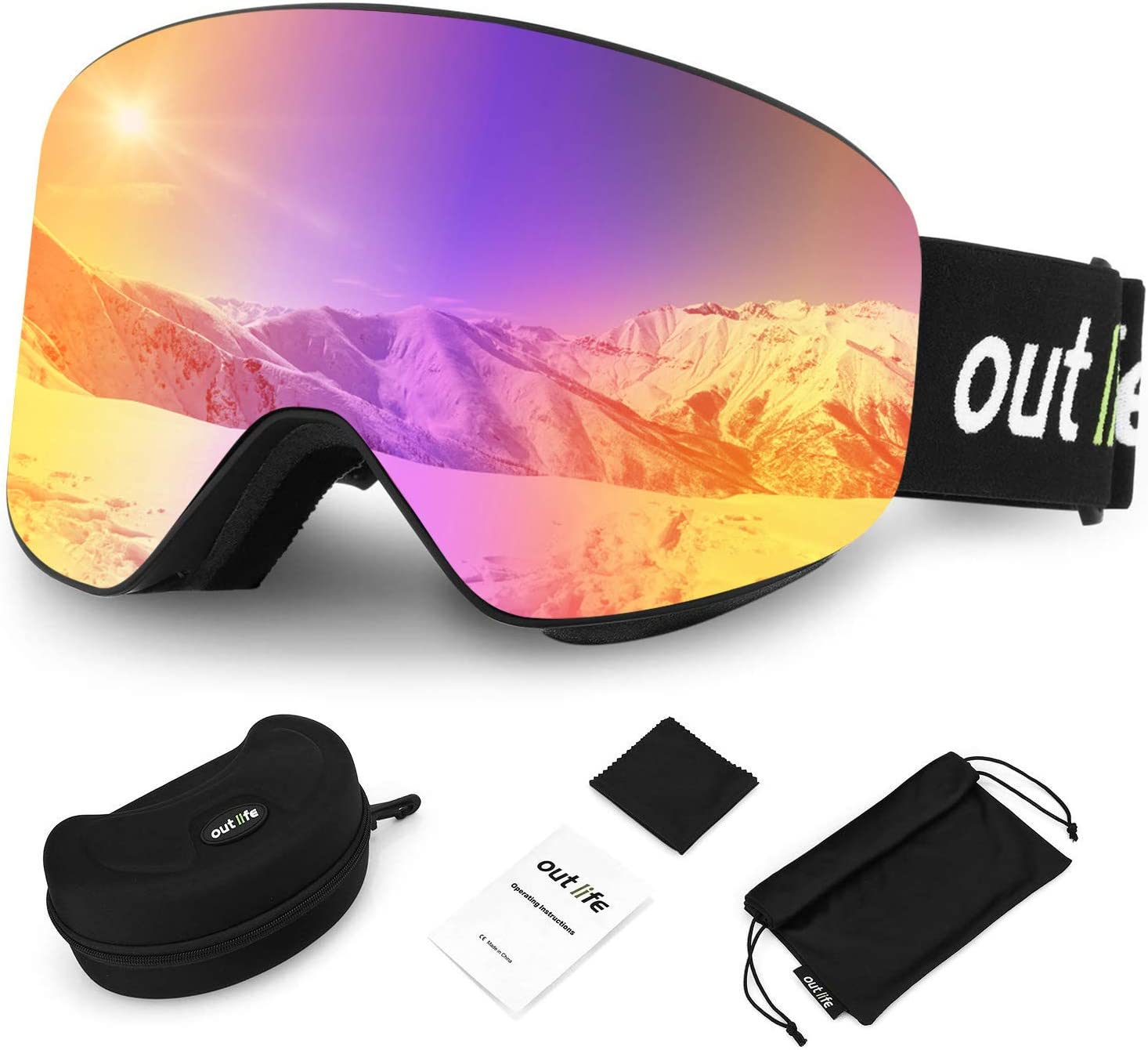 outlife Ski Goggles, Double Lens Ski Snowboard Goggles Anti-Fog UV Protection Anti-Slip Strap with Storage Box for Men Women Youth