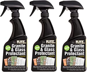 Flitz Granite Glass Cleaner + Sealer, Safe on Food, Powerful Carnauba Wax Formula to Clean, Polish + Protect Kitchen and Bathroom Surfaces, 16 oz, 3 Pack