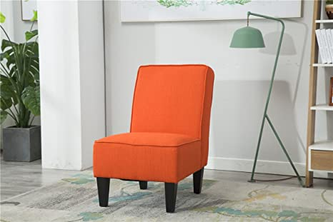 Outstanding Armless Accent Chair Modern Living Room Chairs Pack Of 1 Orange Pabps2019 Chair Design Images Pabps2019Com