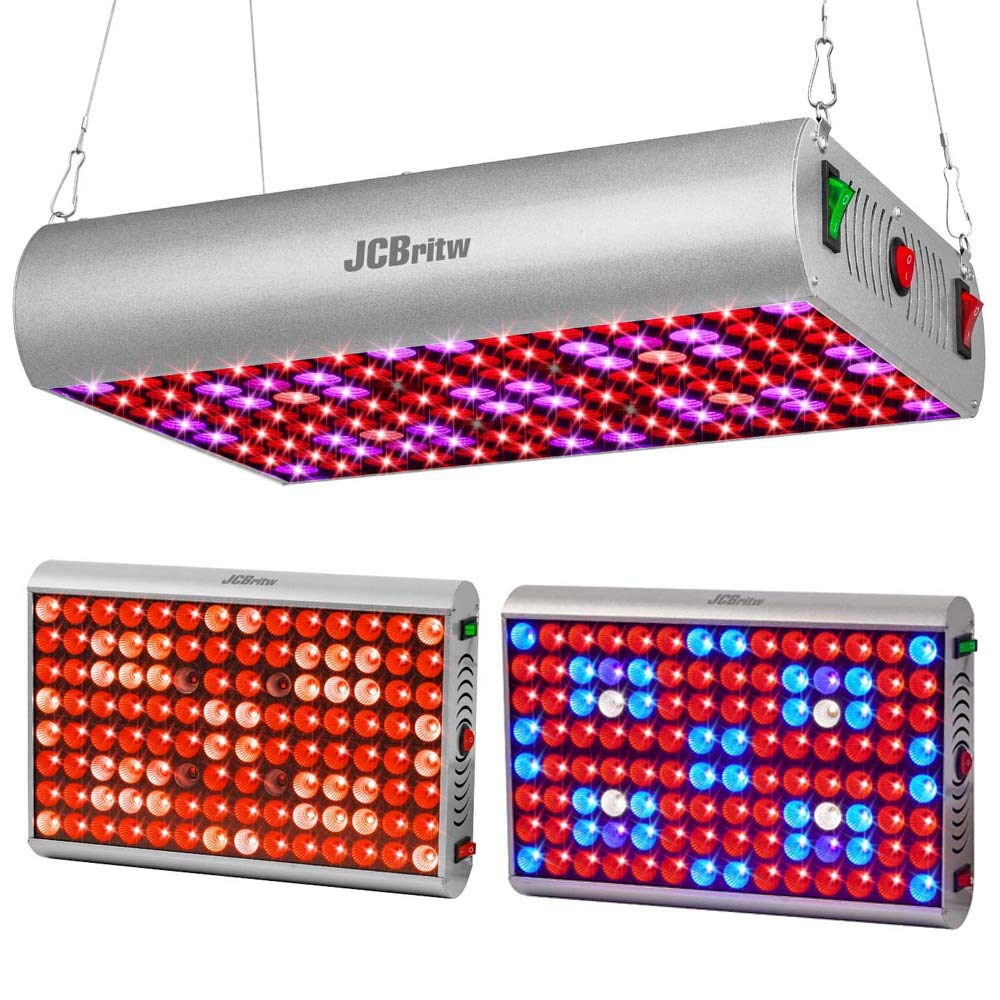 JCBritw 300W LED Grow Light Panel Full Spectrum Plant Growing Lamp Fixture with Veg/Bloom/Full Switch for Indoor Plants Greenhouse Hydroponic Hanging Kit for Germination, Veg and Flower by JCBritw