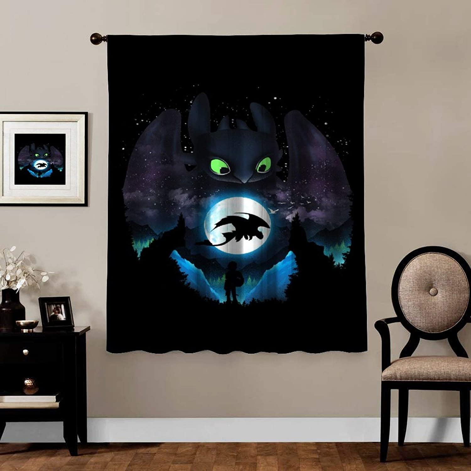Anime Blackout Curtains, Negative Adorable Dragon Toothless, Rod Pocket Thermal Insulated Darkening Window Drapes for Bedroom, Cute Animal Boys Girls Room Décor, 1 Panels,84x84 inch