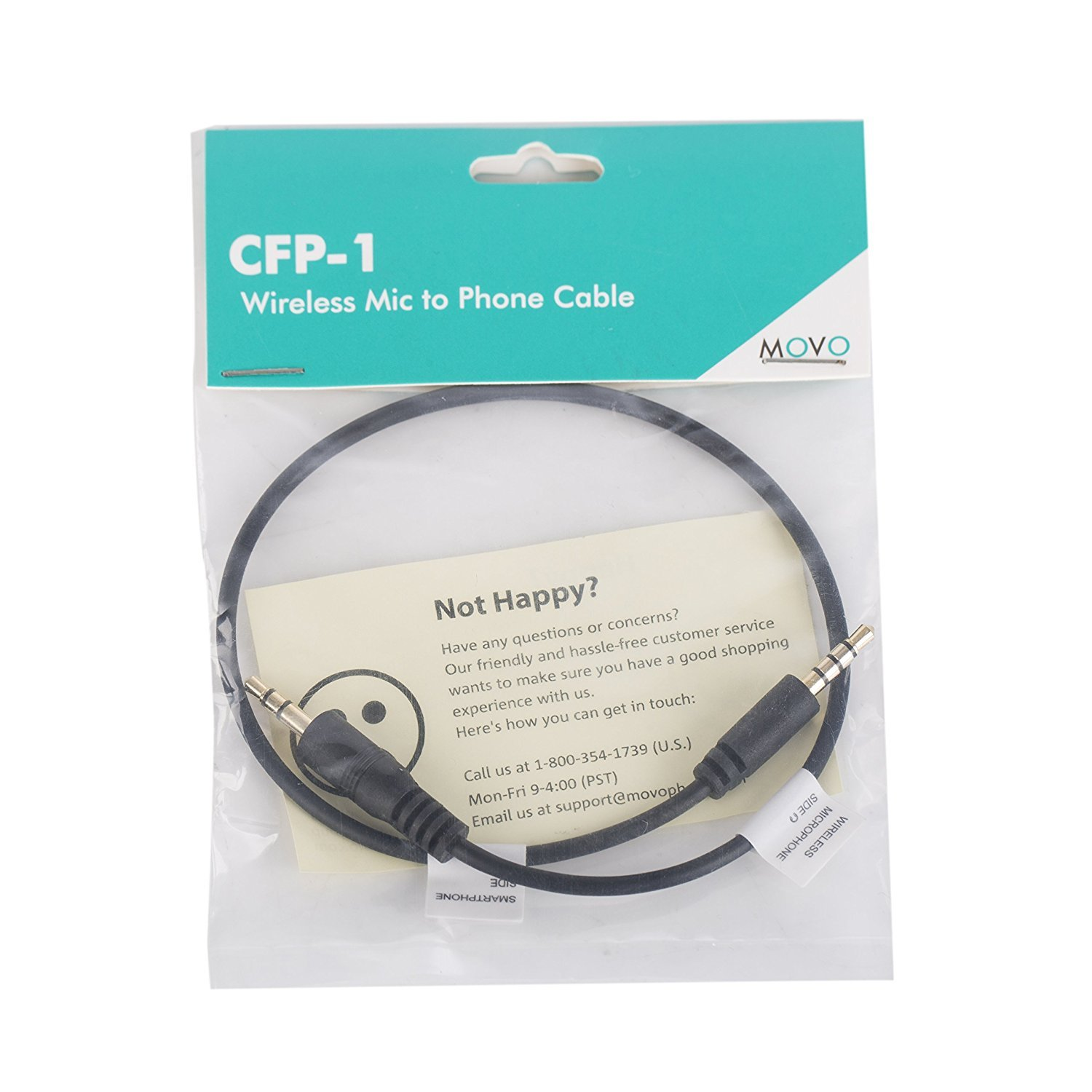 Movo CFP-1 3.5mm TRS (Male) Microphone/Headphone Input Jack to TRRS ...