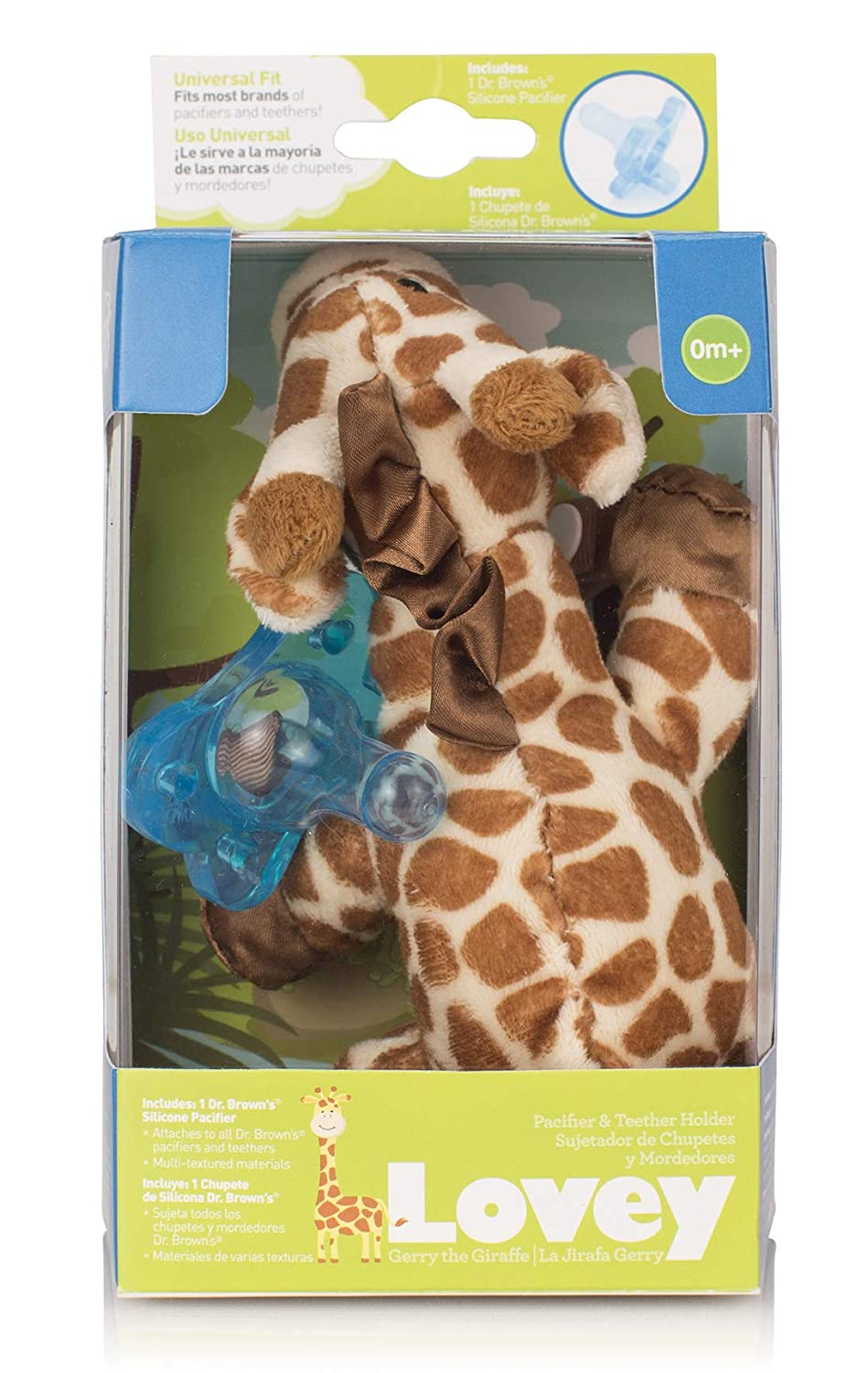 Amazon.com: Dr. Browns GIRAFFE Lovey with Blue One-Piece Pacifier: Toys & Games