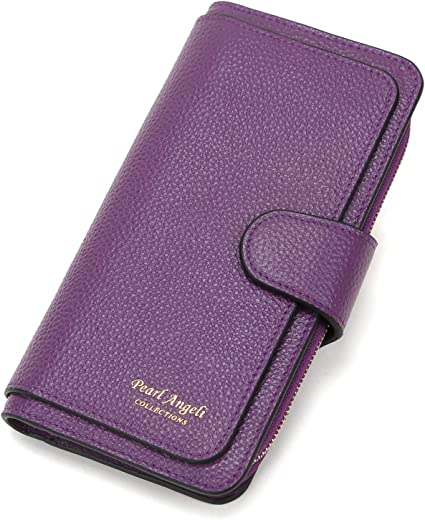 RFID Women Wallet Genuine Leather Clutch Wallet Long Trifold Ladies Purse Credit Card Organizer Purple