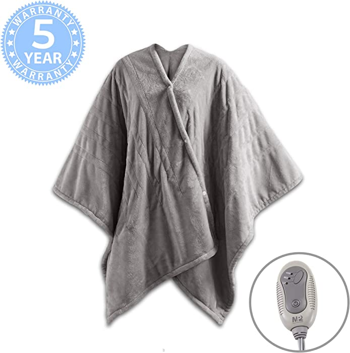 "MP2 Fleece Heated Blanket Wrap Shawl, Wearable Electric Poncho Throw with Buttons, 3 Heating Settings & 2 Hours Auto Shut Off, 50""x 64"" Grey"