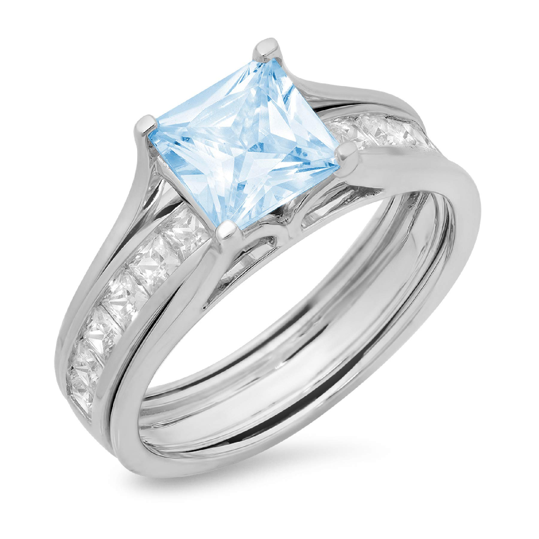 3.37ct Princess Cut Pave Solitaire with Accent Aquamarine Blue Simulated Diamond Designer Statement Classic Sliding Ring Band Set Real 14k White Gold Sz 7 by Clara Pucci