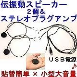 伝振動スピーカー2個&ステレオプラグ入力アンプ3W×2ch USB電源 (黒)