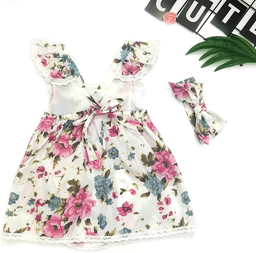 WOCACHI Toddler Baby Girls Dresses 2PC Toddler Kids Girl Strap Floral Sleeveless Backless Princess Dresses+Headband