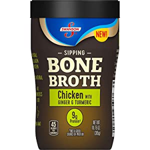 Swanson Sipping Bone Broth, Chicken Bone Broth with Ginger & Turmeric, 10.75 Ounce Sipping Cup