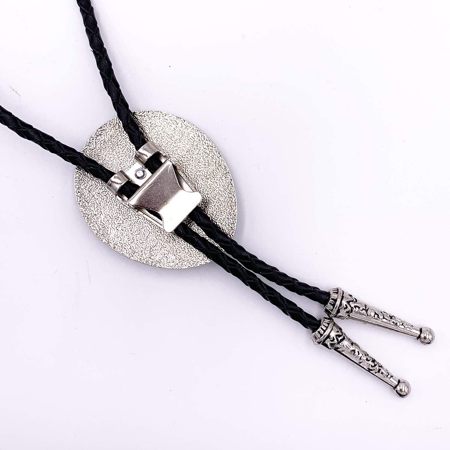 Lanxy Vintage Native American Black Stone Bolo Tie For Men Western Cowboy Genuine Leather Rope