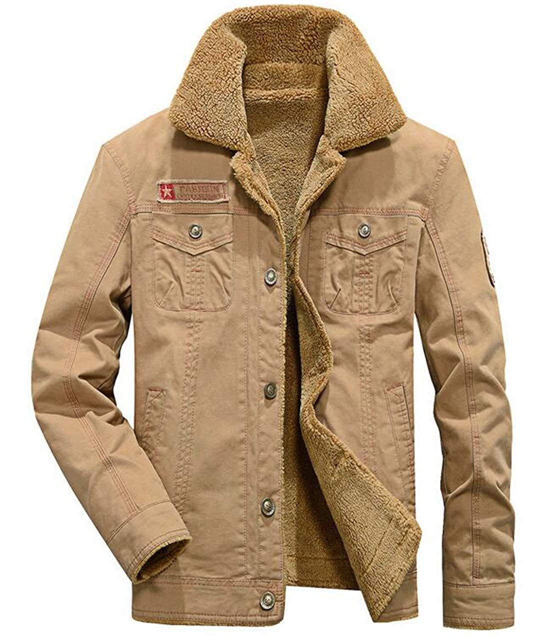 Yaolor Men Plus Button Fur Collar Military Cargo Parka Quilted Coat