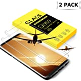 tengsu Galaxy S8 Screen Protector (2-Pack), [Care Fridendly] [3D Touch Compatible] HD Clear Anti-Glare and Bubble-Free Tempered Glass Screen Protector for Galaxy S8