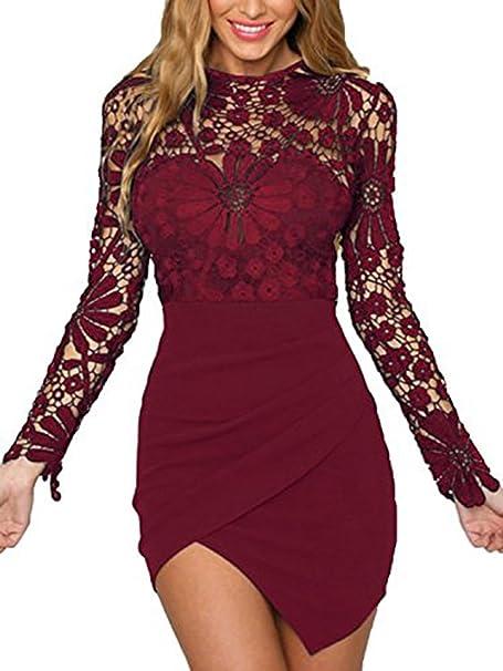 Yoins Damen Elegant Sexy Unregelmassiger Rand Lange Armel Minikleid Mit Spitze Details Abendkleid Fur Party Cocktailkleid Amazon De Bekleidung