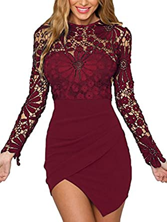 5f4d223340e2 Image Unavailable. Image not available for. Color: YOINS Women Dress Sexy  Bodycon Crochet Lace Wrap Front ...