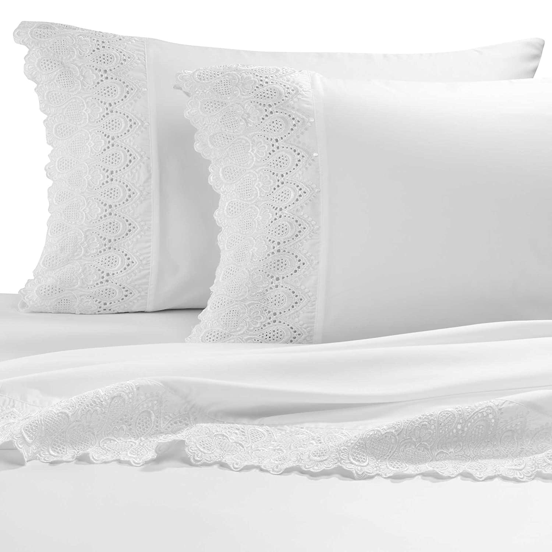 "AURAA Smart 600 Thread Count Cotton Rich, 4 Piece Sheet Set, Queen Sheets, 16"" Deep Pocket, LACE Hem, Smooth & Soft Sateen Weave, Hotel Quality, White"