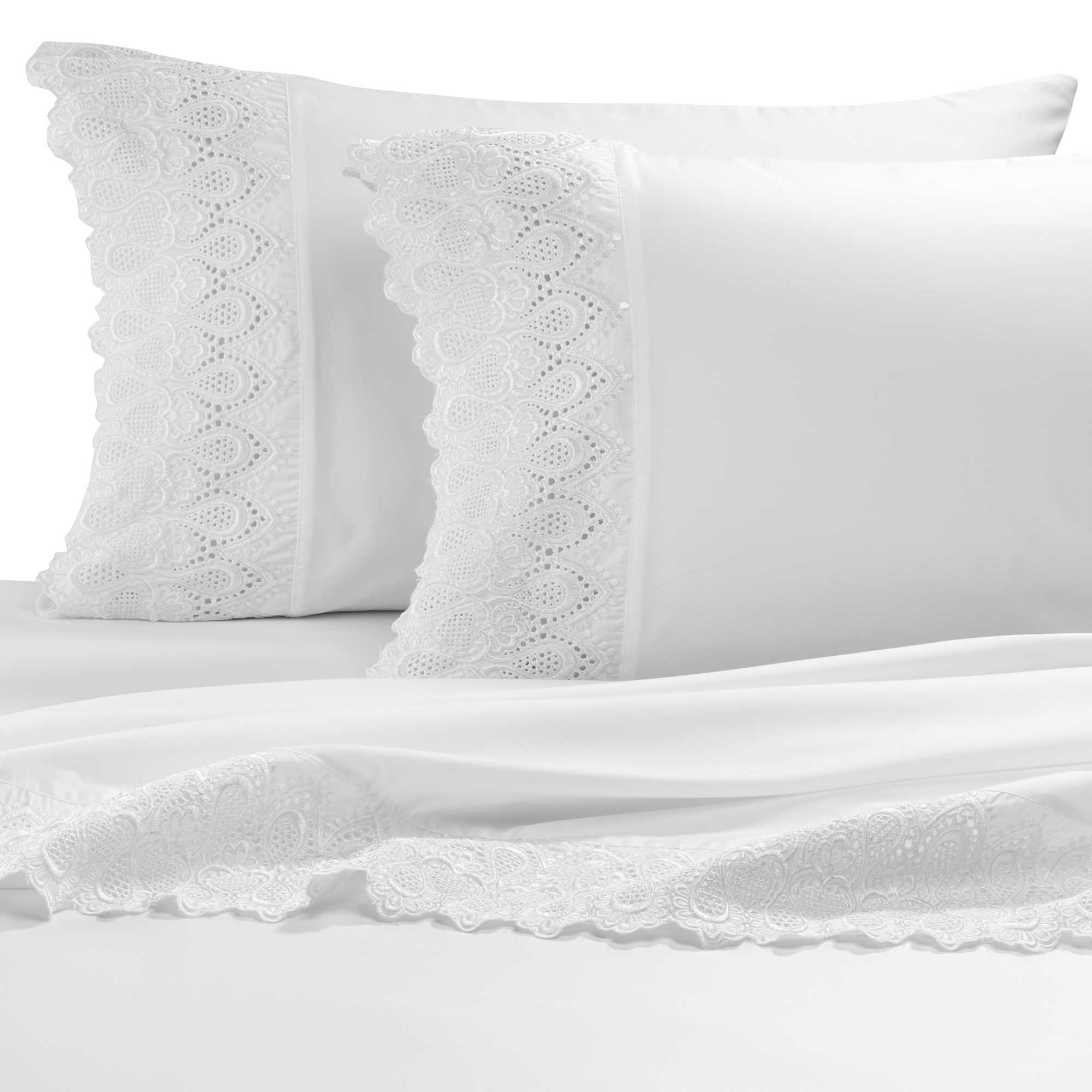 AURAA Smart 600 Thread Count Cotton Rich, 4 Piece Sheet Set, Queen Sheets, 16'' Deep Pocket, LACE Hem, Smooth & Soft Sateen Weave, Hotel Quality, White