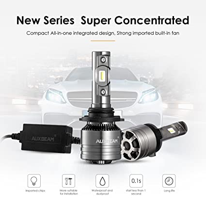 Auxbeam LED Headlights F-T1 Series 9005 Led Headlight Bulbs with 2Pcs of  Led Conversion Kits 70W 8000lm Led Fog Lights with Temperature Control
