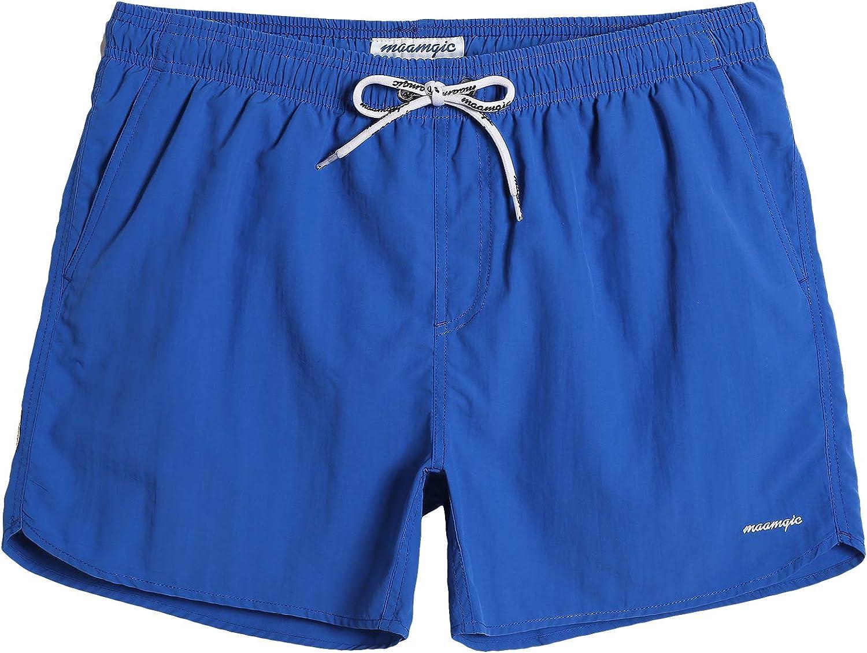 MaaMgic Mens Boys Short Solid Swim Trunks with Mesh Lining Quick Dry Mens Bathing Suits Swim Shorts, Royal Blue
