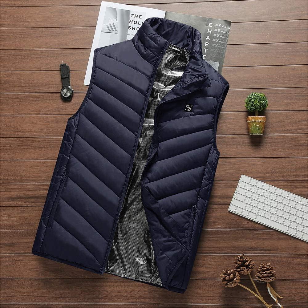 Elettrico riscaldato Gilet Gilet da Uomo e da Donna Vestiti Cappotto Invernale Regolabile di Ricarica USB Sport Esterno Caldo Termica Gilet blue
