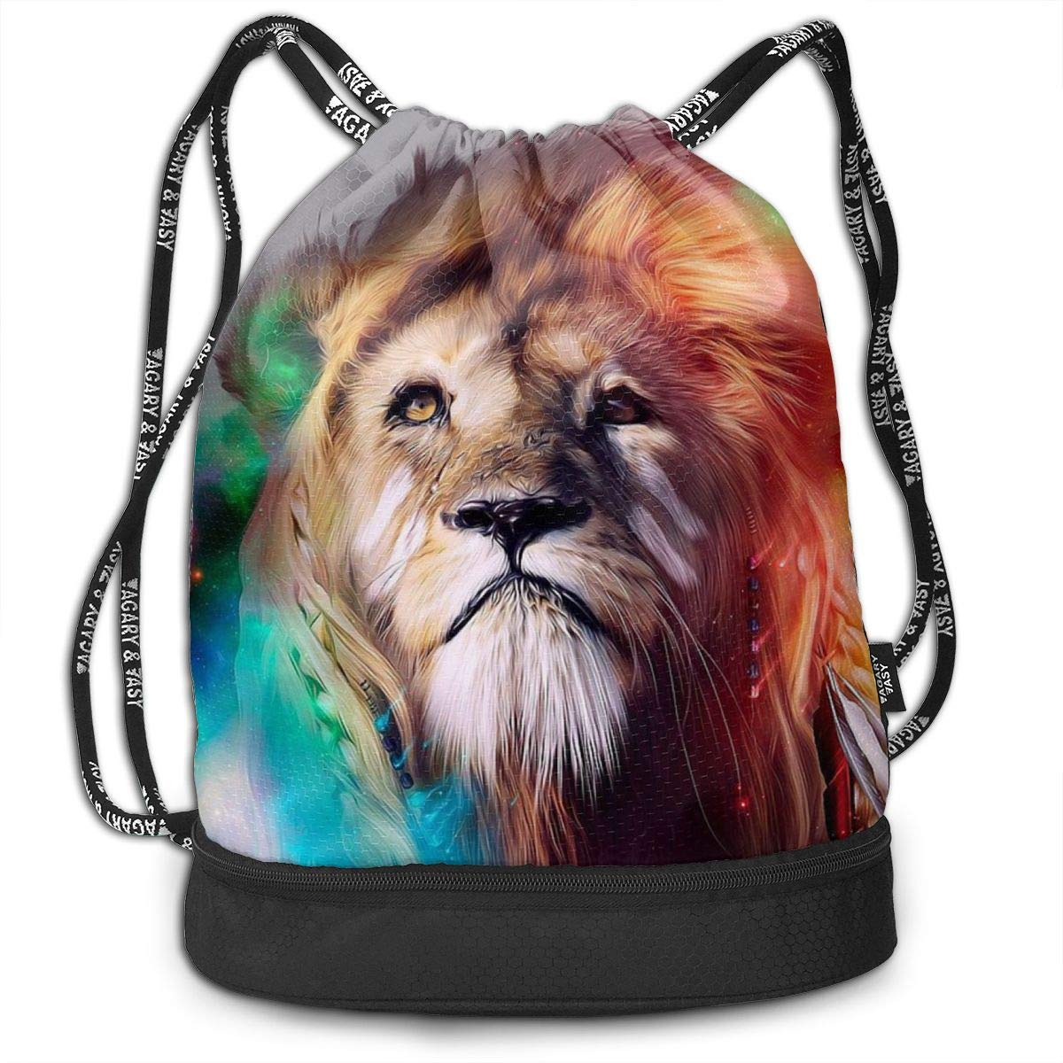 Cat Wearing Santa Hat Drawstring Bag For Girls /& Boys Portable Bundle Backpack Gym Yoga Runner Sports Daypack