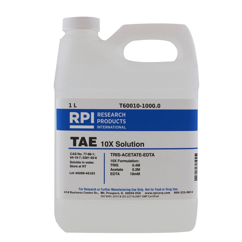 RPI TAE 10X Solution [TRIS Acetate EDTA 10X Solution], 1 Liter, Buffer for Electrophoresis