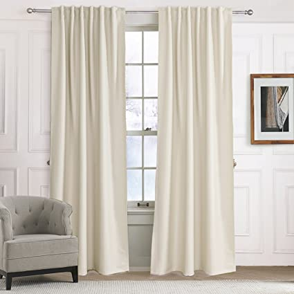 Blackout Curtains Solid Beige/Off White/Light Yellow Drapes   Anady  Insulated Thermal