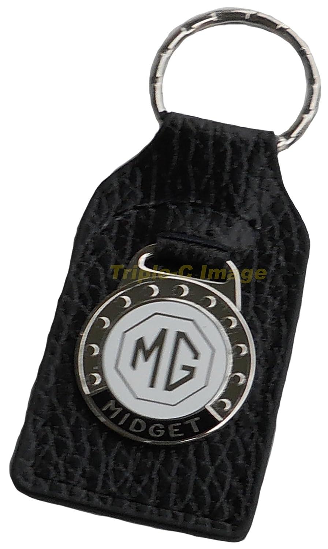 Triple-C MG Midget Leather and Enamel Key Ring Key Fob FOB/_MG-MIDGET