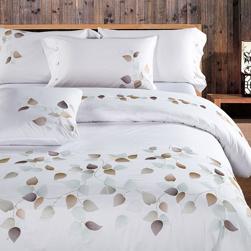 Hughapy Luxury Plants Embroidery Bedding Collection Pure Cotton 4 Piece Bedding Set, Branches and Leaves,Queen White