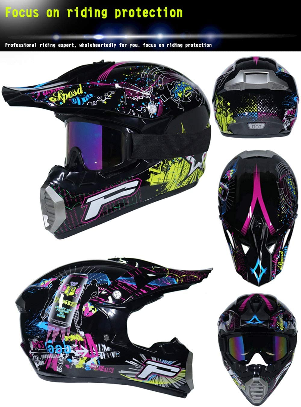 AB-04 Guantes Y Gafas D.O.T est/ándar Ni/ños Quad Bike ATV Go Karting Casco, S,M,L,XL Anderseb Motocicleta Motocross Cascos
