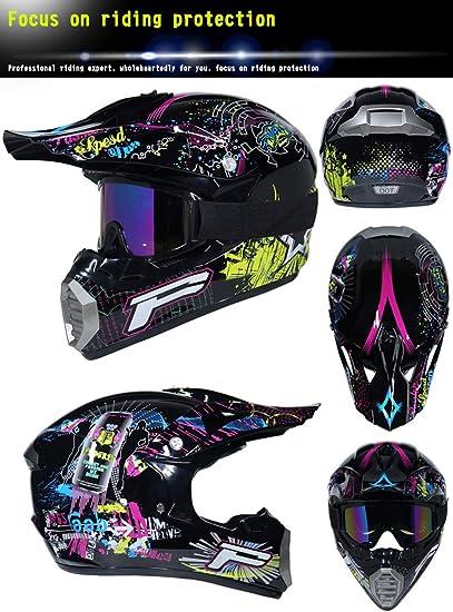 Anderseb AB-15 Motocicleta Motocross Cascos Guantes Y Gafas D.O.T est/ándar Ni/ños Quad Bike ATV Go Karting Casco, S,M,L,XL
