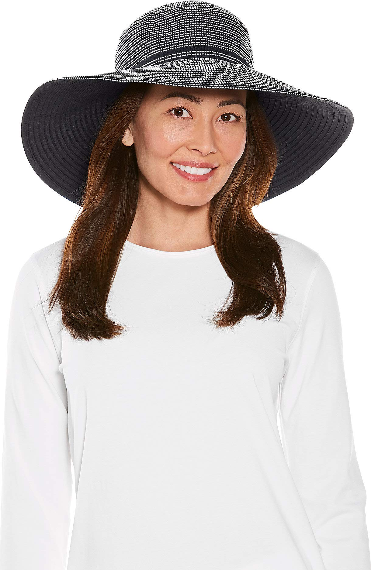 Coolibar UPF 50+ Women's Reversible Zoey Ribbon Hat - Sun Protective (One Size- White/Black)