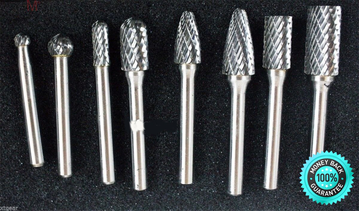 SKEMiDEX---8pc Double Cut Carbide Rotary Burr Bits Set With 1/4'' Shank Aluminum Case. Suitable for deburring and polishing cast iron, cast steel, carbon steel, alloy steel, stainless steel