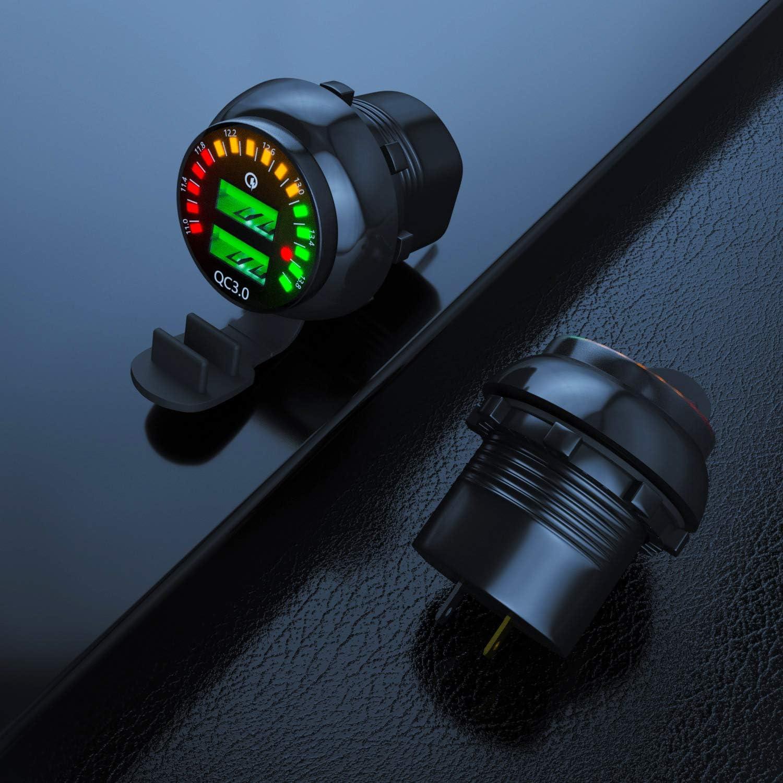Kriogor Chargeur de Voiture camion moto VUS QC3.0 Etanche IP66 Double Prise de Chargeur USB avec 60cm C/âble dextension Couleur Voltm/ètre pour voiture bateaux et marine UTV